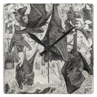 Vintage 1800s Flying Fox Bat Retro Template Bats Wall Clocks