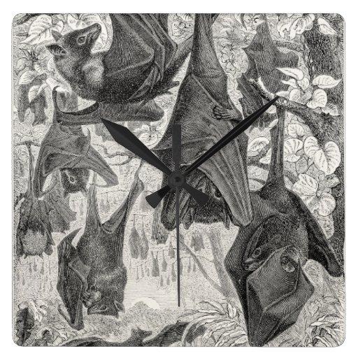 Vintage 1800s Flying Fox Bat Retro Template Bats Clocks