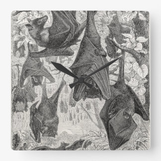 Vintage 1800s Flying Fox Bat Retro Template Bats Square Wall Clock