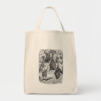 Vintage 1800s Flying Fox Bat Retro Template Bats Tote Bag