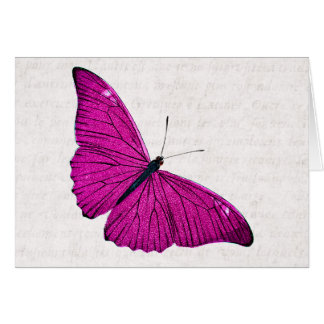 Vintage 1800s Fuchsia Hot Pink Butterfly Template Card