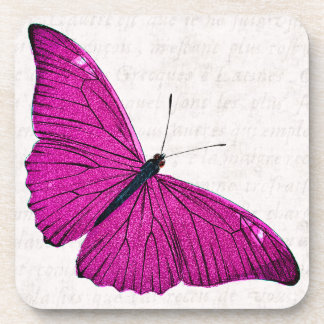 Vintage 1800s Fuchsia Hot Pink Butterfly Template Coaster