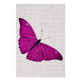 Vintage 1800s Fuchsia Hot Pink Butterfly Template Poster