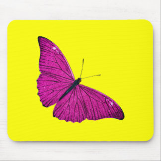 Vintage 1800s Fuchsia Hot Pink Yellow Butterfly Mouse Mat