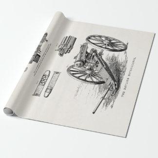 Vintage 1800s Gatling Gun Machine Guns Template Wrapping Paper
