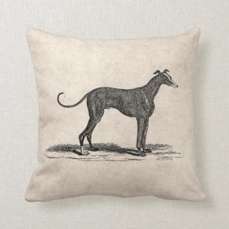 Vintage 1800s Greyhound Dog Illustration - Dogs Cushion