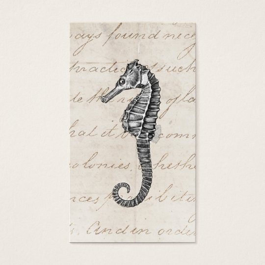 Vintage 1800s Hawaiian Sea Horse Illustration Business Card