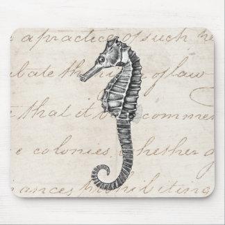 Vintage 1800s Hawaiian Sea Horse Illustration Mouse Mat
