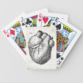 Vintage 1800s Heart Retro Cardiac Anatomy Hearts Bicycle Playing Cards