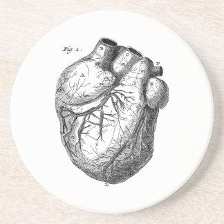 Vintage 1800s Heart Retro Cardiac Anatomy Hearts Coasters