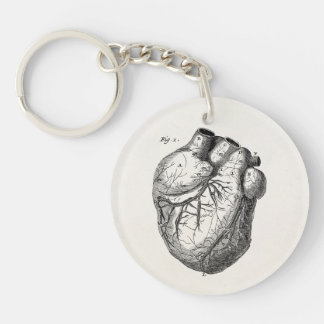 Vintage 1800s Heart Retro Cardiac Anatomy Hearts Key Ring