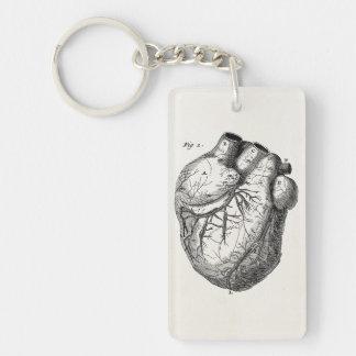 Vintage 1800s Heart Retro Cardiac Anatomy Hearts Single-Sided Rectangular Acrylic Key Ring