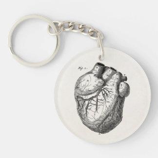 Vintage 1800s Heart Retro Cardiac Anatomy Hearts Single-Sided Round Acrylic Key Ring
