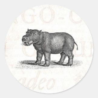 Vintage 1800s Hippopotamus Illustration - Hippos Classic Round Sticker