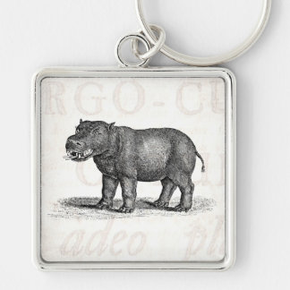 Vintage 1800s Hippopotamus Illustration - Hippos Key Ring