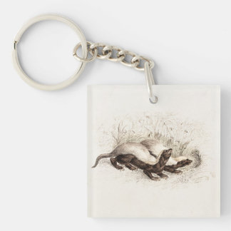 Vintage 1800s Honey Badger Bee Hive Template Retro Key Ring