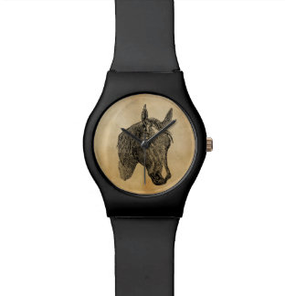 Vintage 1800s Horse Head Illustration Retro Horses Wristwatch