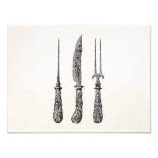 Vintage 1800s Knife Fork Pick Kitchen Cutlery Art Photo