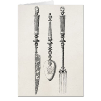 Vintage 1800s Knife Fork Spoon Knives Old Cutlery Note Card