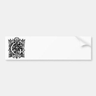 Vintage 1800s Letter G Monogram Illustration Bumper Sticker