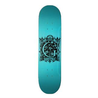 Vintage 1800s Letter G Monogram Teal Blue Skate Board
