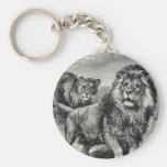 Vintage 1800s Lion Lionesse Big Cat Illustration Keychains