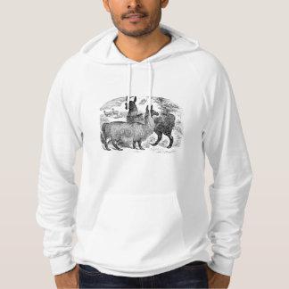 Vintage 1800s Llama Retro Alpaca Llamas Template Hoodie