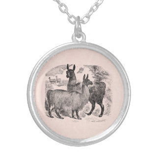 Vintage 1800s Llama Retro Pink Llamas Template Silver Plated Necklace