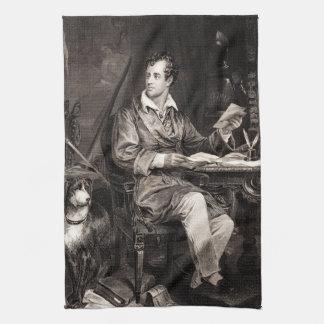 Vintage 1800s Lord Byron Portrait Victorian Poet Tea Towel