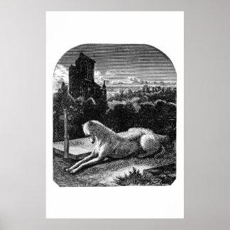Vintage 1800s Loyal Greyhound Dog Poster
