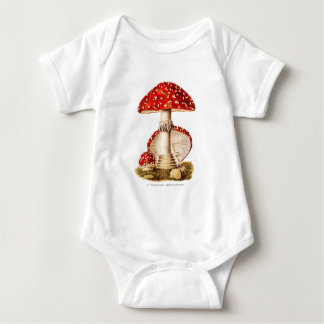 Vintage 1800s Mushroom Red Mushrooms Template Baby Bodysuit