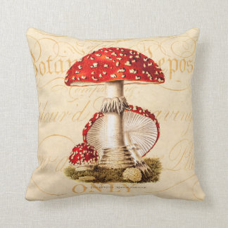 Vintage 1800s Mushroom Red Mushrooms Template Throw Pillow