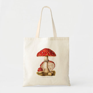Vintage 1800s Mushroom Red Mushrooms Template Tote Bag