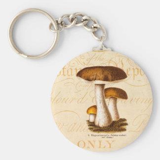 Vintage 1800s Mushroom Scaber Brown Mushrooms Key Ring
