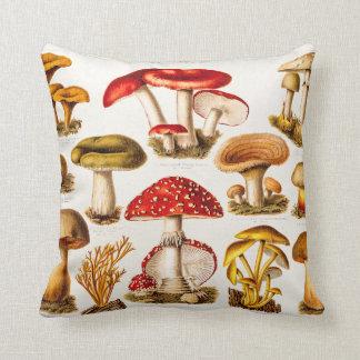 Vintage 1800s Mushroom Variety Template Throw Cushion
