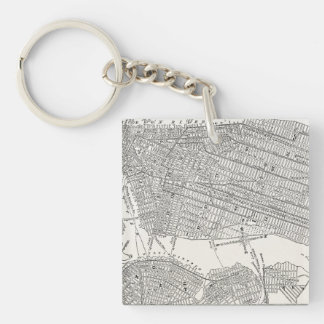 Vintage 1800s New York City Brooklyn Map NYC Maps Key Ring
