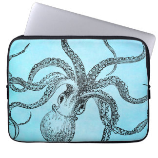 Vintage 1800s Octopus on Teal Blue Watercolor Laptop Sleeves