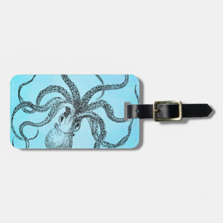 Vintage 1800s Octopus on Teal Blue Watercolor Luggage Tag