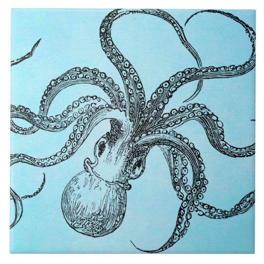 Vintage 1800s Octopus on Teal Blue Watercolor Tile