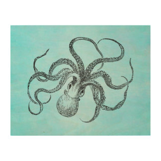 Vintage 1800s Octopus Teal Watercolor Blue Wood Wall Decor
