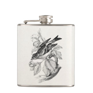 Vintage 1800s Old Mountain Finch Bird Illustration Hip Flask
