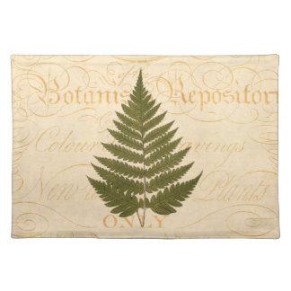 Vintage 1800s Olive Green Fern Leaf Illustration Placemat