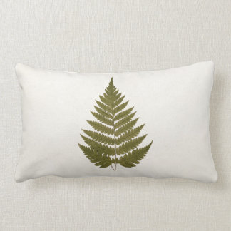 Vintage 1800s Olive Green Fern Leaf Template Throw Pillows