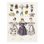 Vintage 1800s Paris Fashion - French Dresses & Hat Postcard