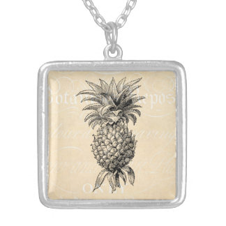 Vintage 1800s Pineapple Illustration Pineapples Square Pendant Necklace