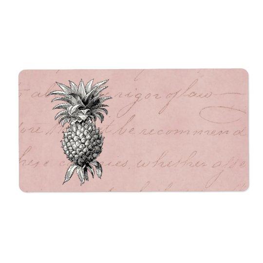Vintage 1800s Pineapple Illustration Pink