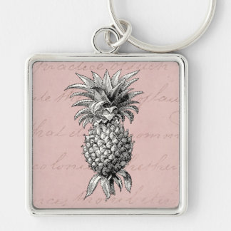 Vintage 1800s Pineapple Illustration Pink Key Ring
