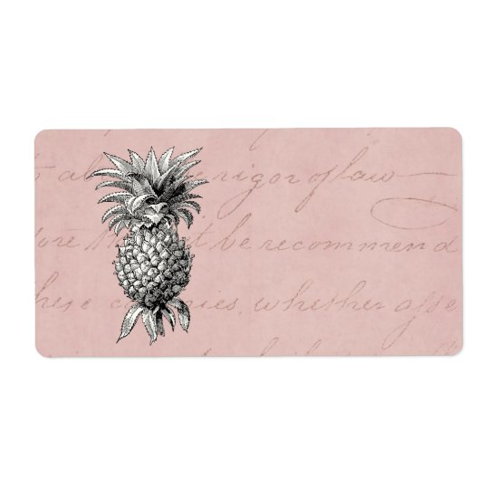Vintage 1800s Pineapple Illustration Pink Shipping Label