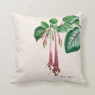 Vintage 1800s Pink Fuchsia Flower Fuschia Floral Throw Pillow