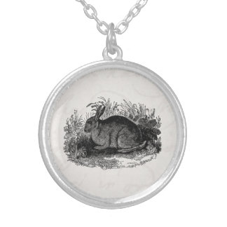 Vintage 1800s Rabbit Retro Bunny Template Rabbits Silver Plated Necklace